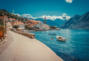 Harbour and boats on sunny day at Boka Kotor Bay, Montenegro, Europe